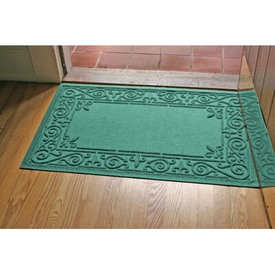 Aqua Shield Iron Fleur Doormat Color: Aquamarine