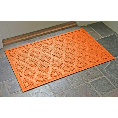 Aqua Shield Ikat Doormat Color: Orange, Rug Size: Rectangle 22 x 31