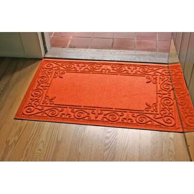 Aqua Shield Iron Fleur Doormat Color: Orange