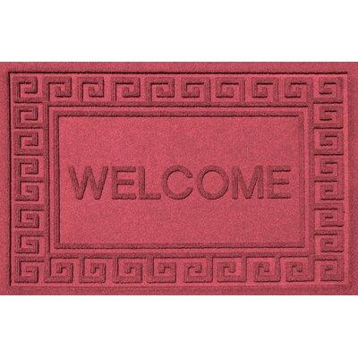 Aqua Shield Greek Key Welcome Doormat Color: Solid Red