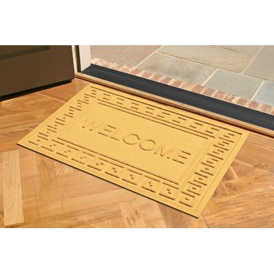 Aqua Shield Greek Key Welcome Doormat Color: Yellow