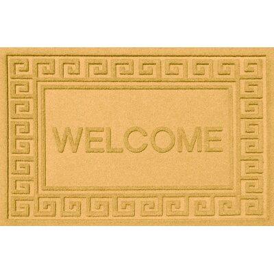 Aqua Shield Greek Key Welcome Doormat Color: Yellow