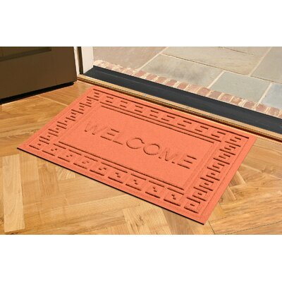 Aqua Shield Greek Key Welcome Doormat Color: Orange