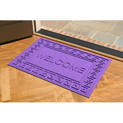 Aqua Shield Greek Key Welcome Doormat Color: Purple