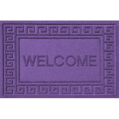 Aqua Shield Greek Key Welcome Doormat Color: Purple