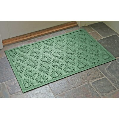 Aqua Shield Ikat Doormat Color: Light Green, Rug Size: Rectangle 22 x 31