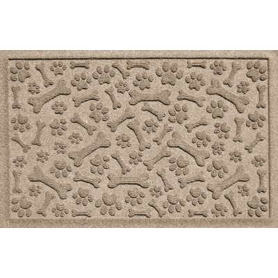 Aqua Shield Paw and Bones Doormat Color: Camel