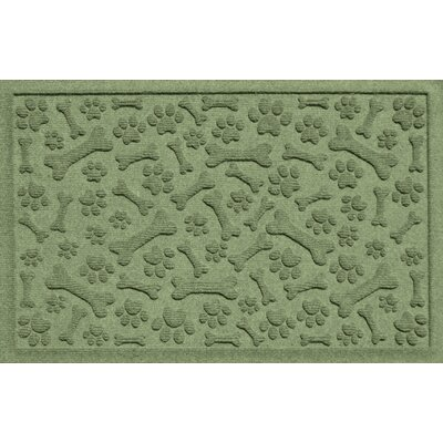 Aqua Shield Paw and Bones Doormat Color: Light Green
