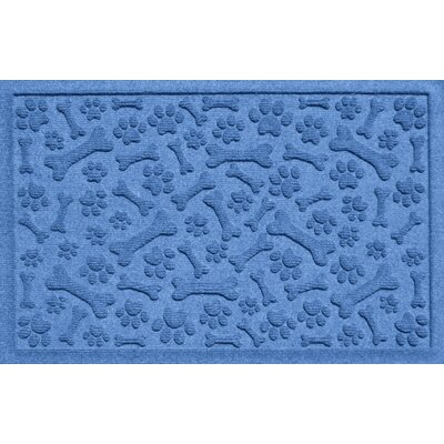 Aqua Shield Paw and Bones Doormat Color: Medium Blue