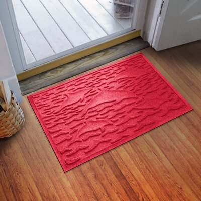 Aqua Shield Statement of Porpoise Doormat Color: Solid Red