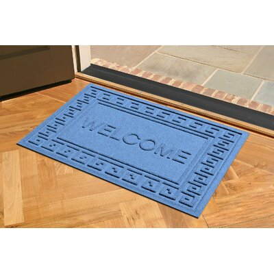 Aqua Shield Greek Key Welcome Doormat Color: Medium Blue