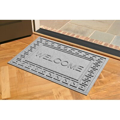 Aqua Shield Greek Key Welcome Doormat Color: Medium Gray