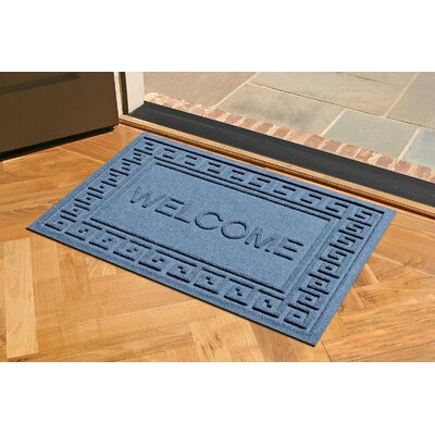 Aqua Shield Greek Key Welcome Doormat Color: Bluestone