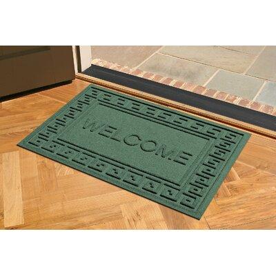 Aqua Shield Greek Key Welcome Doormat Color: Evergreen