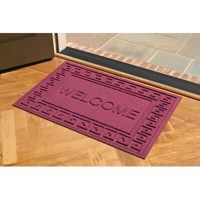 Aqua Shield Greek Key Welcome Doormat Color: Bordeaux