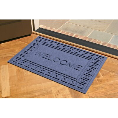 Aqua Shield Greek Key Welcome Doormat Color: Navy