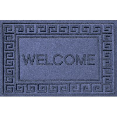 Aqua Shield Greek Key Welcome Doormat Color: Navy