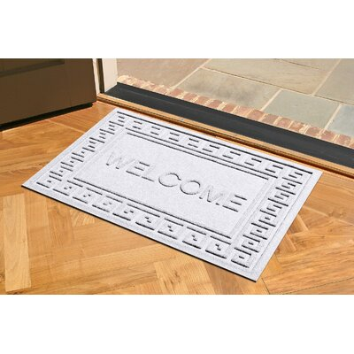Aqua Shield Greek Key Welcome Doormat Color: White