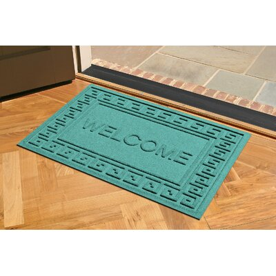 Aqua Shield Greek Key Welcome Doormat Color: Aquamarine
