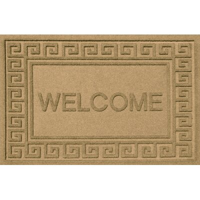 Aqua Shield Greek Key Welcome Doormat Color: Gold