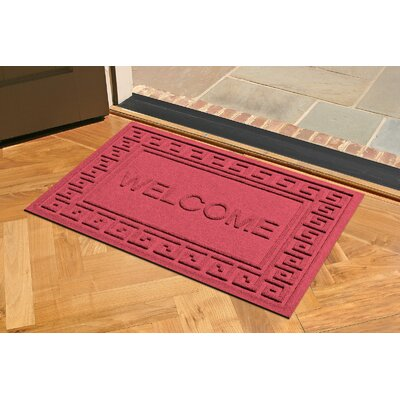 Aqua Shield Greek Key Welcome Doormat Color: Solid Red