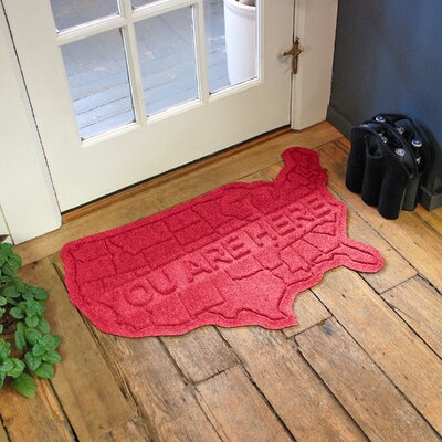 Aqua Shield USA Map Doormat Color: Solid Red