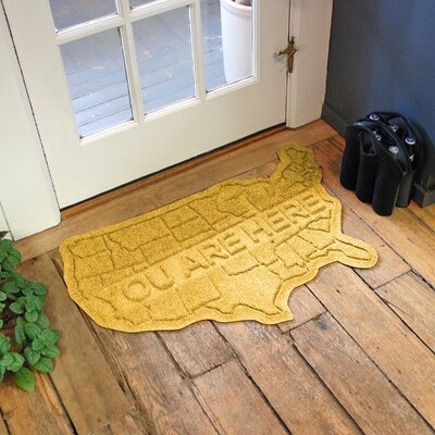 Aqua Shield USA Map Doormat Color: Yellow