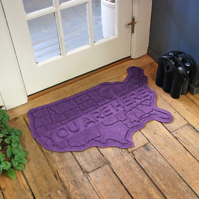 Aqua Shield USA Map Doormat Color: Purple