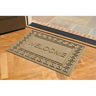 Aqua Shield Greek Key Welcome Doormat Color: Camel