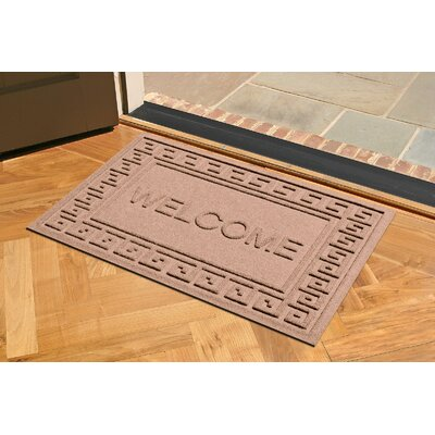 Aqua Shield Greek Key Welcome Doormat Color: Medium Brown