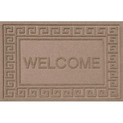Aqua Shield Greek Key Welcome Doormat Color: Medium Brown