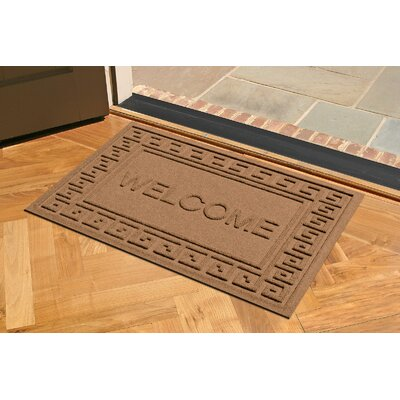 Aqua Shield Greek Key Welcome Doormat Color: Dark Brown