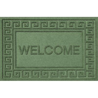 Aqua Shield Greek Key Welcome Doormat Color: Light Green