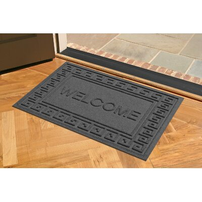 Aqua Shield Greek Key Welcome Doormat Color: Charcoal