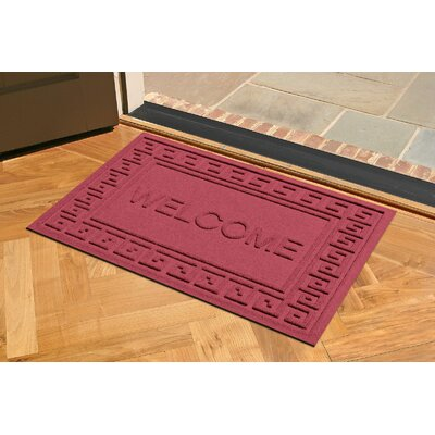 Aqua Shield Greek Key Welcome Doormat Color: Red