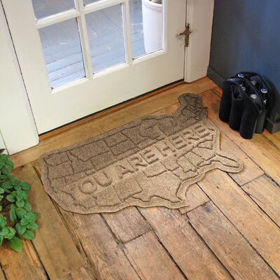 Aqua Shield USA Map Doormat Color: Camel