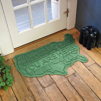 Aqua Shield USA Map Doormat Color: Light Green