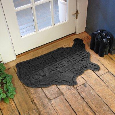 Aqua Shield USA Map Doormat Color: Charcoal