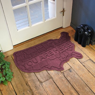 Aqua Shield USA Map Doormat Color: Bordeaux