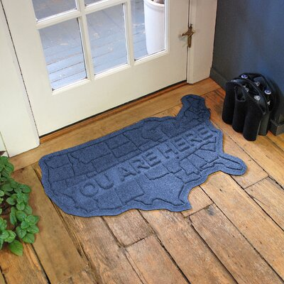Aqua Shield USA Map Doormat Color: Navy