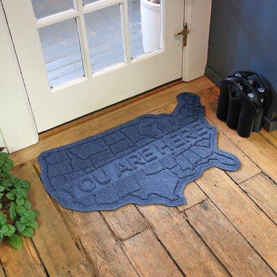 Aqua Shield USA Map Doormat Color: Navy