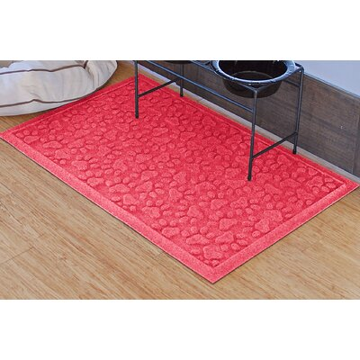 Aqua Shield Scattered Dog Paws Doormat Color: Solid Red