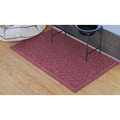 Conway Scattered Dog Paws Doormat Color: Bordeaux