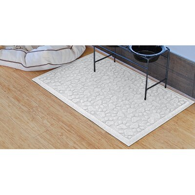 Conway Scattered Dog Paws Doormat Color: White