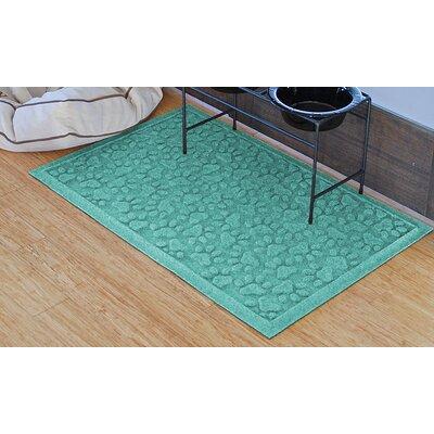 Aqua Shield Scattered Dog Paws Doormat Color: Aquamarine
