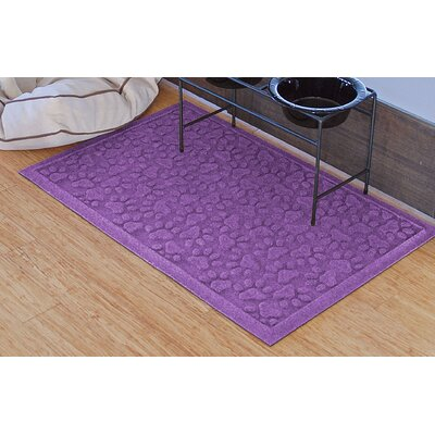 Conway Scattered Dog Paws Doormat Color: Purple