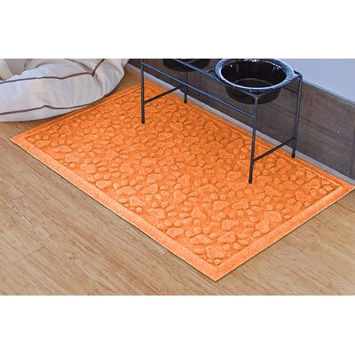 Conway Scattered Dog Paws Doormat Color: Orange