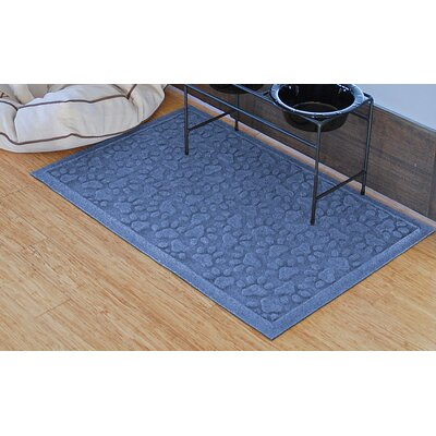 Aqua Shield Scattered Dog Paws Doormat Color: Navy