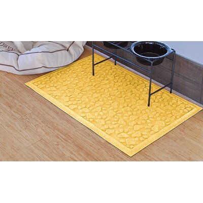 Aqua Shield Scattered Dog Paws Doormat Color: Yellow