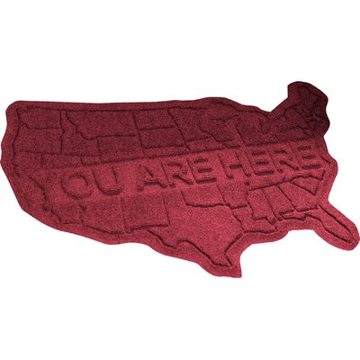 Aqua Shield USA Map Doormat Color: Red